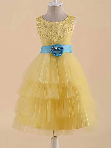 Yellow Scoop Neck Satin Tulle with Sashes/Ribbons Famous Flower Girl Dress #PDS01031822