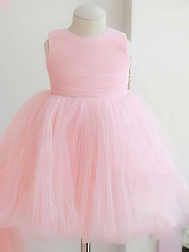 Best Scoop Neck Tulle with Bow Back Ball Gown Pink Flower Girl Dresses #PDS01031824
