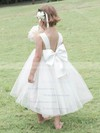 Amazing Square Neckline Satin Tulle with Bow White Tea-length Flower Girl Dress #PDS01031825