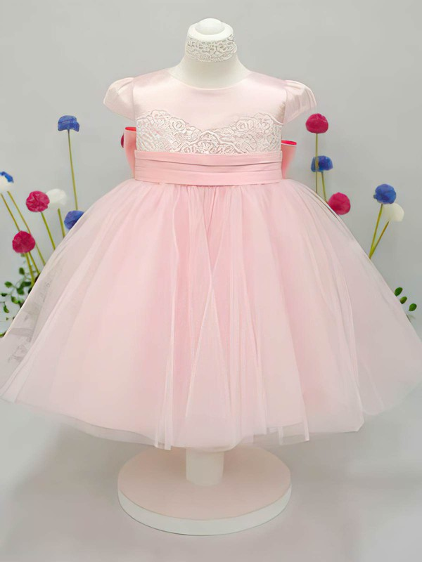 Cap Straps Hot Pink Tulle Elastic Woven Satin Bow Ankle-length Flower Girl Dress #PDS01031826