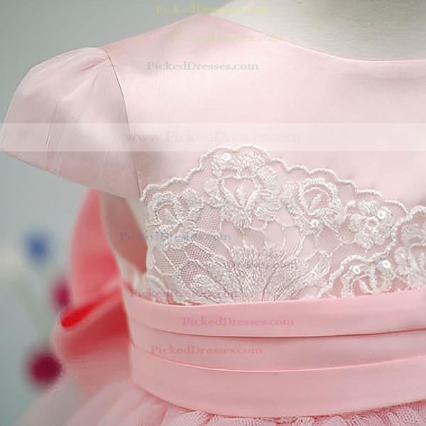 Cap Straps Hot Pink Tulle Elastic Woven Satin Bow Ankle-length Flower Girl Dress #PDS01031826