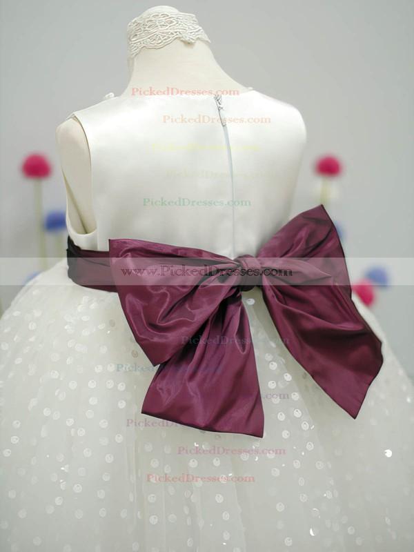 Ivory Scoop Neck Nice Tulle Taffeta Sashes/Ribbons Ankle-length Flower Girl Dress #PDS01031827
