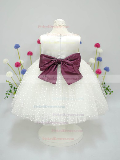 Ivory Scoop Neck Nice Tulle Taffeta Sashes/Ribbons Ankle-length Flower Girl Dress #PDS01031827