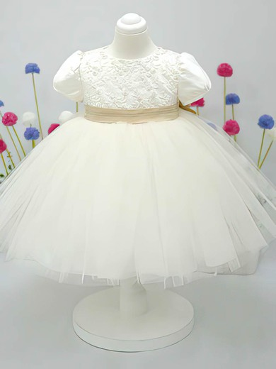 Beautiful Ankle-length Satin Tulle Bow Ivory Scoop Neck Short Sleeve Flower Girl Dress #PDS01031828