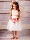 Tulle A-line Scoop Neck Tea-length Appliques Lace Flower Girl Dresses #PDS01031829