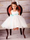 Tulle Elastic Woven Satin Ball Gown Scoop Neck Tea-length Sashes / Ribbons Flower Girl Dresses #PDS01031830