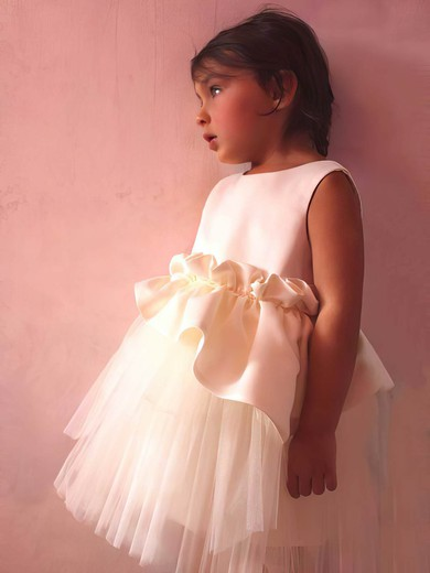 Nicest Ivory Satin Tulle Scoop Neck with Ruffles Tea-length Flower Girl Dress #PDS01031832