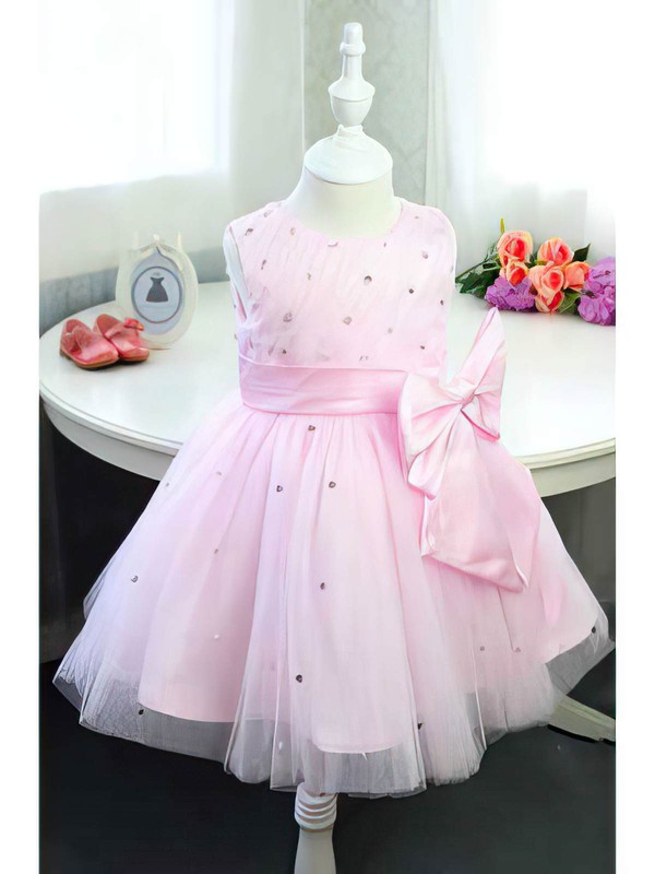 Satin Tulle Scoop Neck with Beading Online Ball Gown Pink Flower Girl Dress #PDS01031833