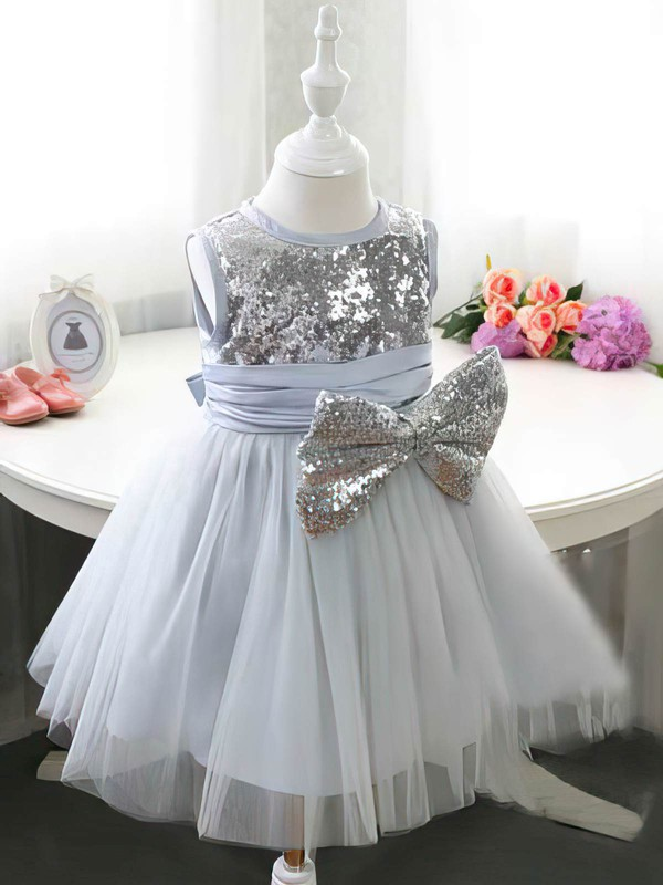 Designer Tea-length Tulle Sequined with Bow Ball Gown Flower Girl Dress #PDS01031834