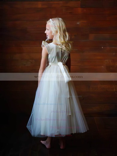 Scoop Neck Ivory Tulle Elastic Woven Satin Cap Straps Ankle-length 2016 Flower Girl Dress #PDS01031835