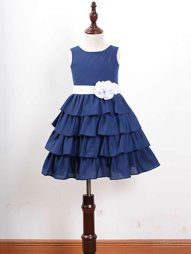 Best Scoop Neck Tiered Chiffon Sashes/Ribbons Royal Blue Ankle-length Flower Girl Dress #PDS01031836