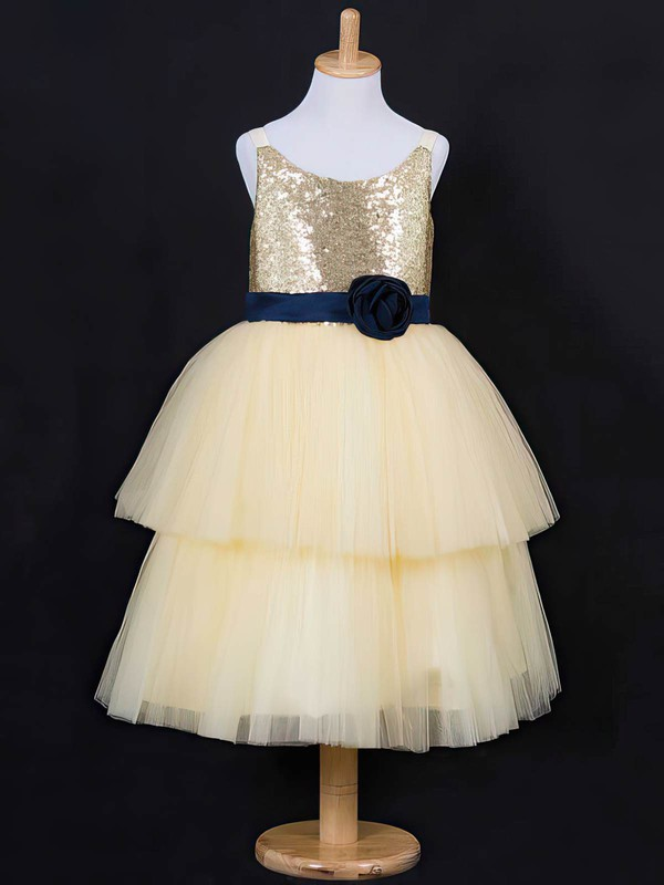 Floor-length Light Yellow Tiered Tulle Sequined Scoop Neck Unique Flower Girl Dress #PDS01031837