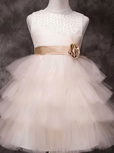 Gorgeous Knee-length Tulle Elastic Woven Satin Sashes / Ribbons Scoop Neck Flower Girl Dress #PDS01031840