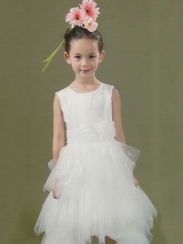 Tulle Elastic Woven Satin Princess Scoop Neck Court Train Tiered Flower Girl Dresses #PDS01031843