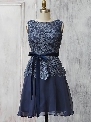 Scoop Neck Gray Lace Chiffon with Sashes/Ribbons Gorgeous Short/Mini Mother of the Bride Dress #PDS01021570
