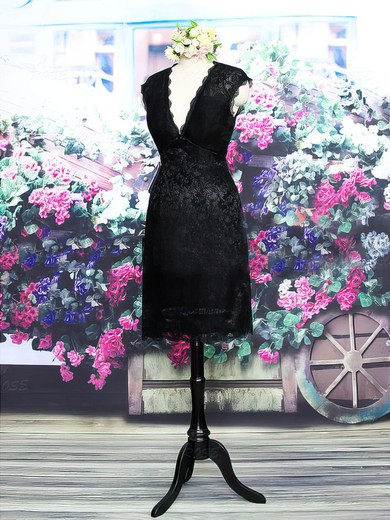 Great Open Back V-neck Black Lace Cap Straps Sheath/Column Mother of the Bride Dress #PDS01021573