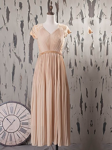 Fashion Tea-length Lace Chiffon with Beading Cap Straps V-neck Mother of the Bride Dress #PDS01021574