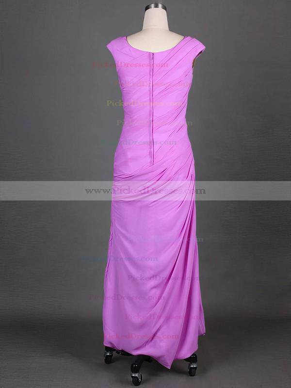 Lavender Scoop Neck Chiffon Cap Straps Split Front Sheath/Column Mother of the Bride Dress #PDS01021575