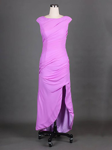 Lavender Scoop Neck Chiffon Cap Straps Split Front Sheath/Column Mother of the Bride Dress #PDS01021575