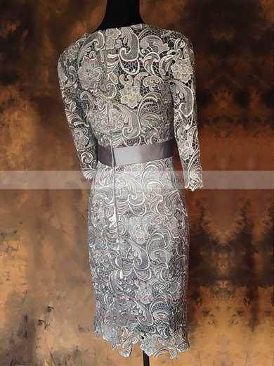 Sheath/Column Sashes/Ribbons 1/2 Sleeve Gray Lace Ankle-length Mother of the Bride Dress #PDS01021576