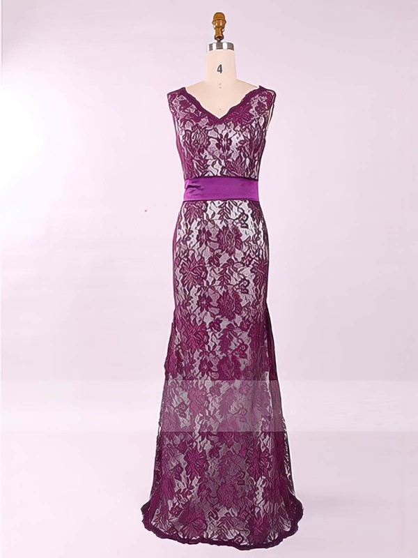 Newest Scoop Neck Lace with Sashes/Ribbons Sheath/Column Mother of the Bride Dress #PDS01021577