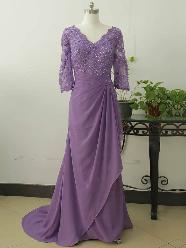 Amazing V-neck Chiffon Appliques Lace 1/2 Sleeve Sweep Train Mother of the Bride Dress #PDS01021578