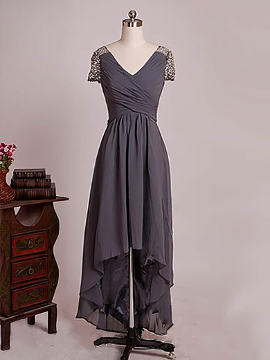 Asymmetrical V-neck Chiffon Beading Short Sleeve High Low Mother of the Bride Dresses #PDS01021579