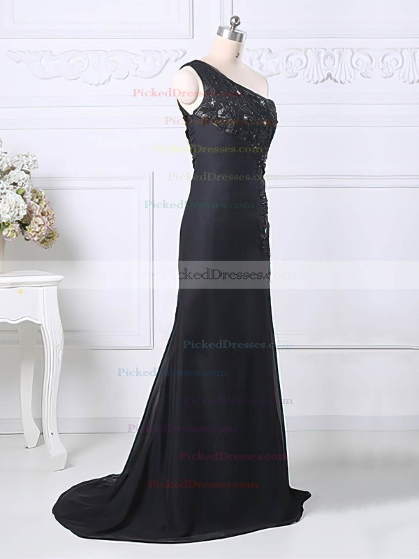 Sweep Train Black Chiffon Tulle Appliques Lace Split Front One Shoulder Mother of the Bride Dress #PDS01021580