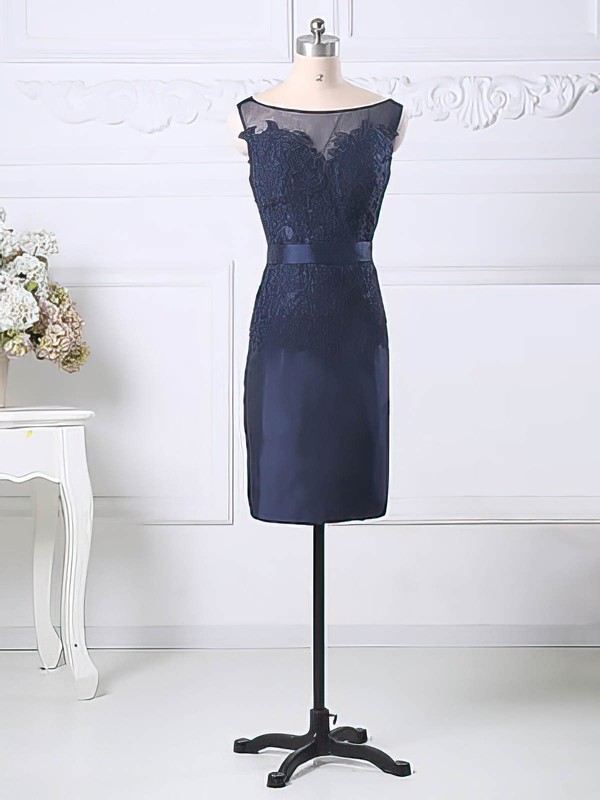 Sheath/Column Appliques Lace Dark Navy Tulle Taffeta Knee-length Nice Mother of the Bride Dress #PDS01021581