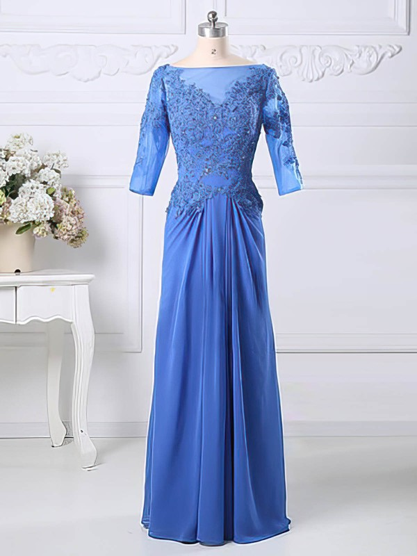 Blue Chiffon Tulle Scoop Neck Appliques Lace 1/2 Sleeve A-line Mother of the Bride Dresses #PDS01021583