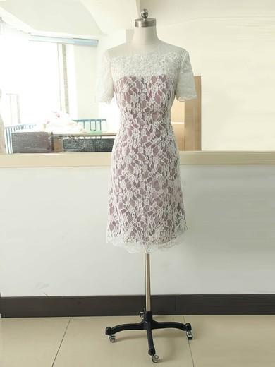 Famous Sheath/Column Short Sleeve Multi Colours Lace Short/Mini Mother of the Bride Dress #PDS01021584