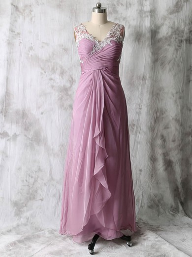 Floor-length Chiffon Tulle with Beading V-neck Cheap Mother of the Bride Dresses #PDS01021586