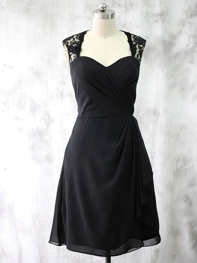 Different Sweetheart Black Chiffon Lace Ruffles Short/Mini Mother of the Bride Dresses #PDS01021587