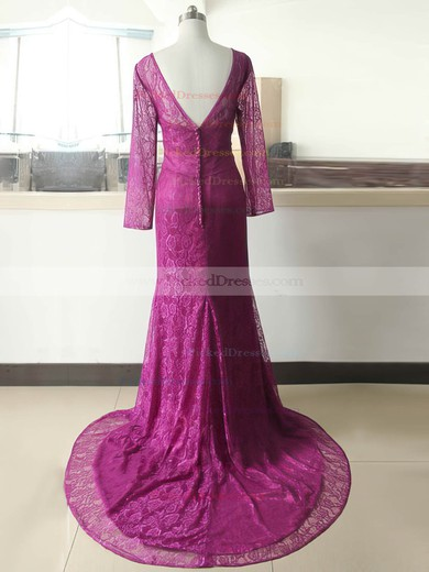 Elegant Sheath/Column Long Sleeve Sequins Covered Buttons V-neck Lace Mother of the Bride Dresses #PDS01021588