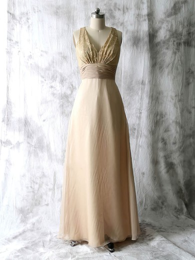 Discount Champagne Chiffon Lace V-neck Pleats Floor-length Mother of the Bride Dress #PDS01021589