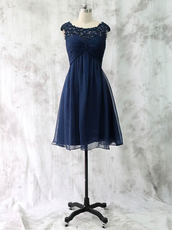 Empire Appliques Lace Dark Navy Chiffon Cap Straps Knee-length Mother of the Bride Dress #PDS01021590