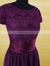 A-line Purple Chiffon Lace Scoop Neck Sashes / Ribbons Short Sleeve Mother of the Bride Dress #PDS01021594