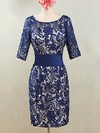 Royal Blue Lace Knee-length Sashes / Ribbons 1/2 Sleeve Sheath/Column Mother of the Bride Dresses #PDS01021595
