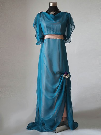 Cowl Neck Chiffon Sashes / Ribbons Elastic Woven Satin Short Sleeve Sweep Train Mother of the Bride Dress #PDS01021596