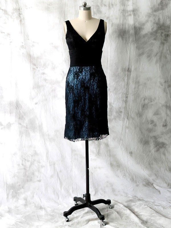 Unique Sheath/Column Black Lace Chiffon Beading Short/Mini Mother of the Bride Dresses #PDS01021598