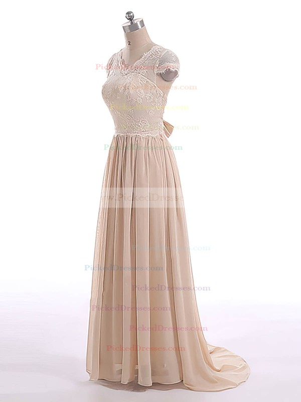 A-line Champagne Lace Chiffon Bow Short Sleeve V-neck Mother of the Bride Dresses #PDS01021599