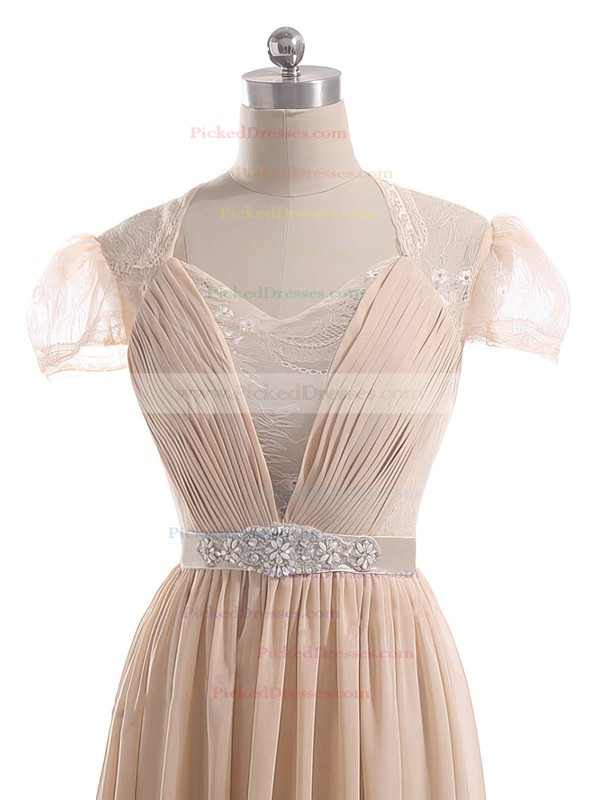 A-line Champagne Lace Chiffon Sashes/Ribbons Short Sleeve Sweetheart Mother of the Bride Dress #PDS01021600