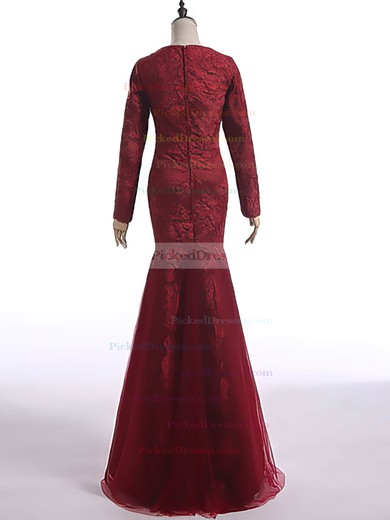 Gorgeous Trumpet/Mermaid Burgundy Lace Tulle Long Sleeve Scoop Neck Mother of the Bride Dress #PDS01021603