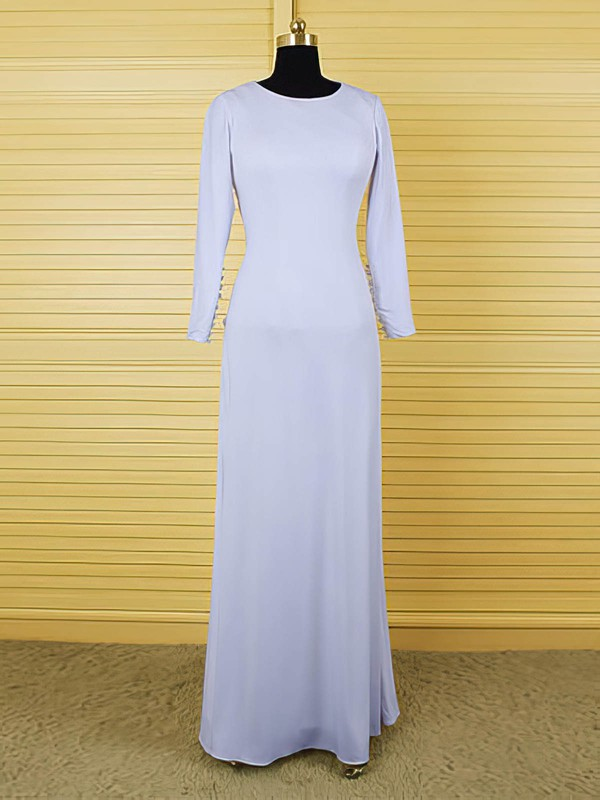 Scoop Neck Ruffles Open Back Ivory Chiffon Long Sleeve Mother of the Bride Dress #PDS01021609