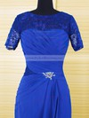 Royal Blue Chiffon Lace Crystal Brooch Scoop Neck Short Sleeve Floor-length Mother of the Bride Dresses #PDS01021610