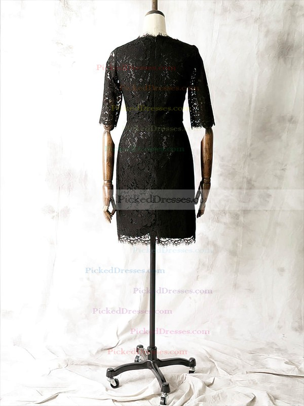 Sexy Sheath/Column Scoop Neck 1/2 Sleeve Black Lace Mother of the Bride Dresses #PDS01021612