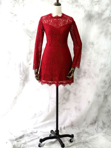 Red Lace Short/Mini Scoop Neck Long Sleeve Good Mother of the Bride Dresses #PDS01021613