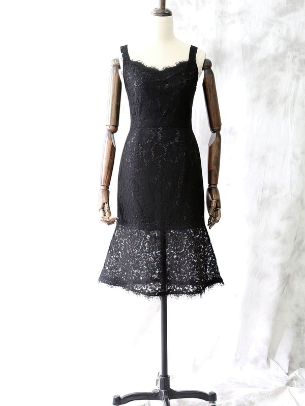 Square Neckline Sheath/Column Black Lace Knee-length Straps Mother of the Bride Dresses #PDS01021614