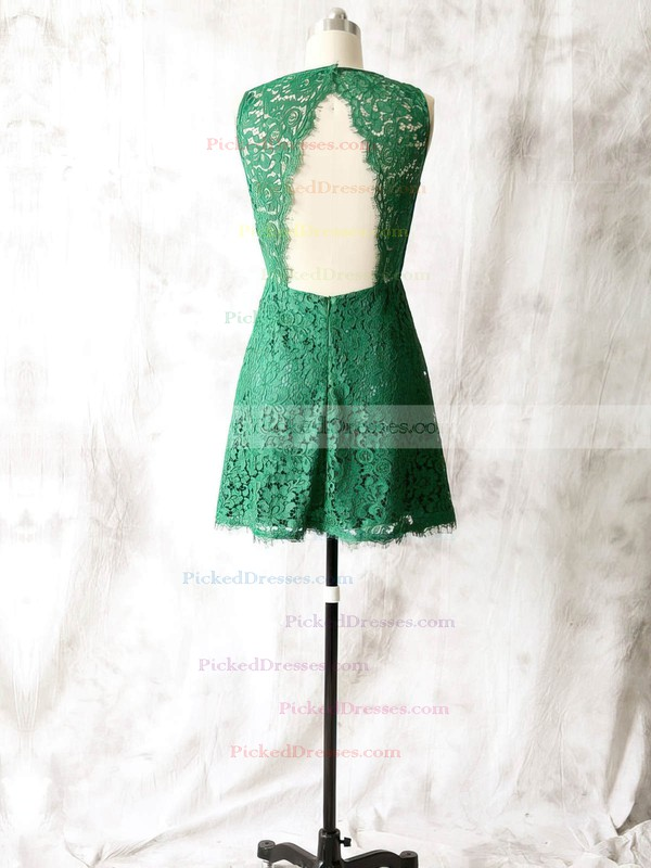 Fashion Short/Mini Green Lace Open Back Scoop Neck Mother of the Bride Dress #PDS01021615