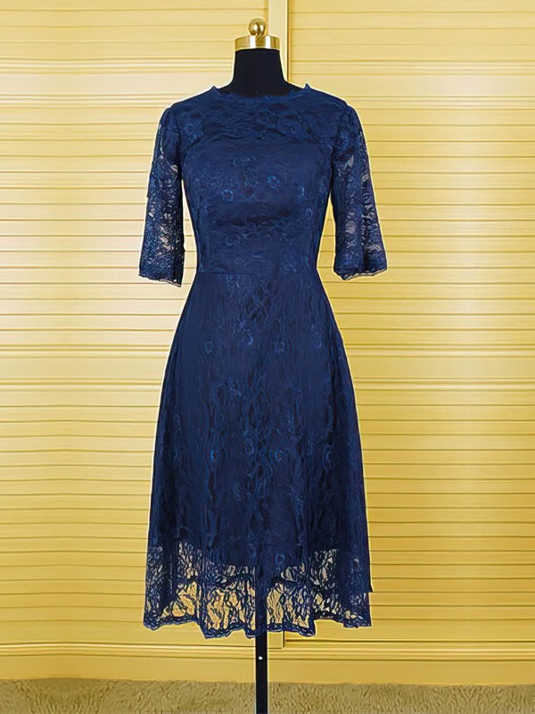 Popular Tea-length 1/2 Sleeve Dark Navy Lace Scoop Neck Mother of the Bride Dresses #PDS01021616